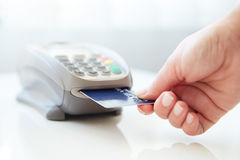 Woman pay by credit. Card in store Royalty Free Stock Image