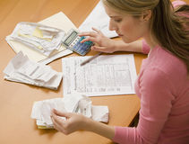 Woman Paying Bills Royalty Free Stock Image