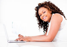Woman paying bills online Royalty Free Stock Photos