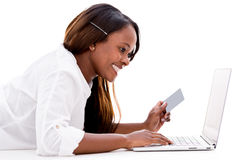 Woman paying online Stock Photo