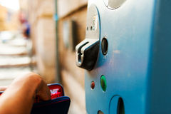 Woman paying parking pay machine Royalty Free Stock Photography