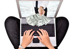 Woman a payment transaction with a laptop Royalty Free Stock Photos