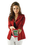 Woman pays with visa Stock Image