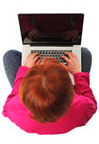 Woman with pc Stock Photo