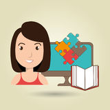 Woman pc book puzzle. Illustration eps 10 Royalty Free Stock Images