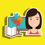 Woman pc book puzzle. Illustration eps 10 Stock Photo