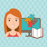 Woman pc book puzzle. Illustration eps 10 Royalty Free Stock Photo