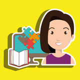 Woman pc book puzzle. Illustration eps 10 Stock Images