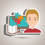 Woman pc book puzzle. Illustration eps 10 Royalty Free Stock Photography