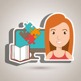 Woman pc book puzzle. Illustration eps 10 Royalty Free Stock Photos
