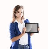 Woman with pc tablet Stock Photos