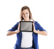 Woman with pc tablet Royalty Free Stock Photos