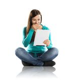 Woman with pc tablet Stock Image
