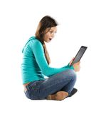 Woman with pc tablet Stock Images
