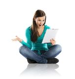 Woman with pc tablet Stock Photo