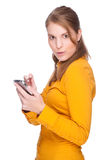 Woman with PDA Stock Photo