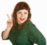 Woman With Peace Gesture Stock Photography