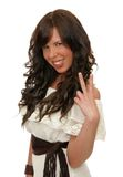 Woman with peace sign Royalty Free Stock Images