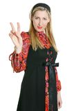 Woman and Peace sign Stock Photography