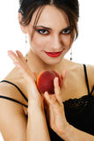 Woman and peach Royalty Free Stock Photo