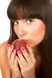 Woman with a peach Royalty Free Stock Photo