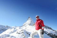 Woman and peak Matterhorn Stock Photos