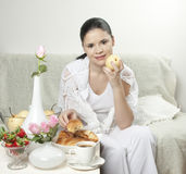 Woman with pear Royalty Free Stock Photo