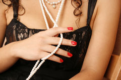 Woman with pearl necklace Stock Photo