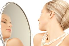 Woman with pearl necklace Royalty Free Stock Image