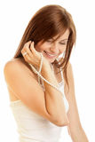 Woman with pearls. Portrait of young woman with pearls isolated on white background Stock Photo