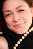 Woman with pearls close up Stock Photo