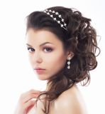 Luxury. Rich Stylish Brunette with Pearly Beads. Elegant Style Stock Images