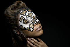 Woman with pearly mask Royalty Free Stock Photo
