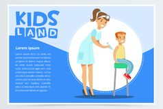 Woman pediatrician giving boy injection in arm. Young female pediatrician giving boy injection in arm by syringe. Medical service concept. Cartoon character of Royalty Free Stock Photos