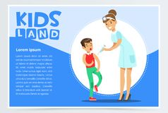 Woman pediatrician making injection to scared boy vector illustration