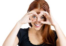 Woman peeking Royalty Free Stock Images