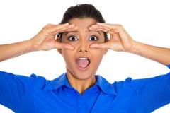 Woman peeking surprised Royalty Free Stock Image