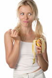 Woman with peel of banana Royalty Free Stock Image