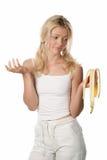Woman with peel of banana Royalty Free Stock Image