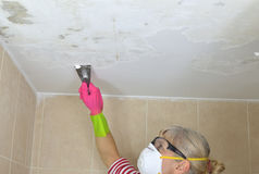 Woman Peeling a Ceiling Royalty Free Stock Image