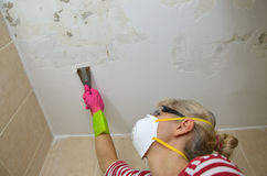 Woman Peeling a Ceiling Stock Photo