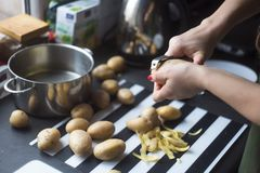 Woman peeling potatoes Stock Photo