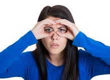 Woman peering Stock Photo