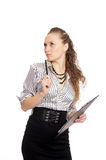 woman with pen Royalty Free Stock Photos