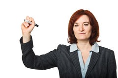 Woman with pen Royalty Free Stock Images