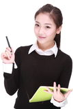 Woman with pen Stock Photography