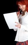 Woman with pen and blank card Stock Images