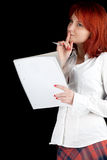 Woman with pen and blank card Stock Photo