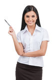 Woman with pen. Stock Photos