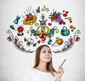 Woman with pen and colorful marriage icons Stock Image